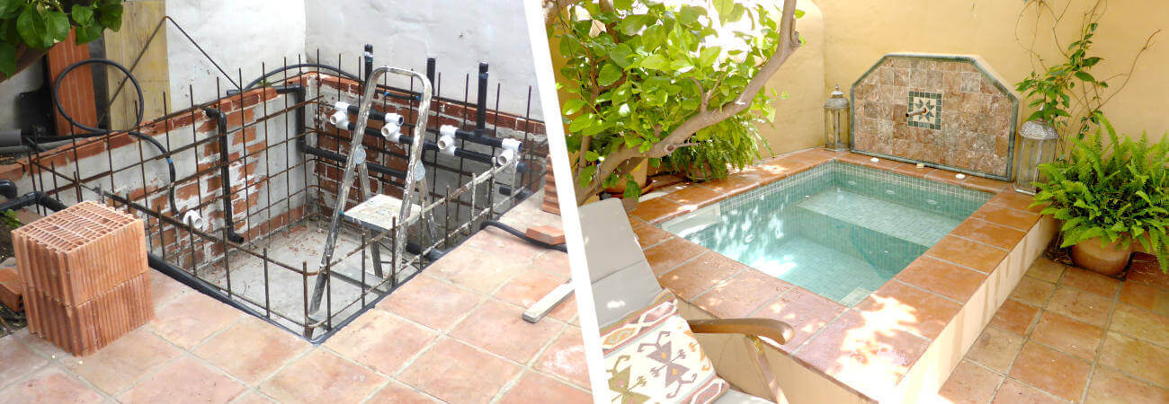Two Photos of building works of a pool, left pool construction in progress, right pool in Andalusian style ready